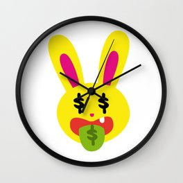 One Tooth Rabbit Emoticons Money Mouth Bunny Face Wall Clock