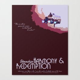 Doctor Who Minimalist Travel Poster - Starship Harmony & Redemption Canvas Print