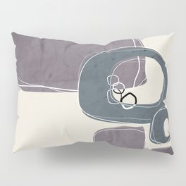 Retro Abstract Design in Peninsula Blue and Aubergine Pillow Sham