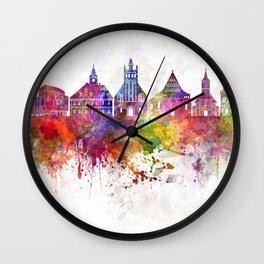 Lubin skyline in watercolor background Wall Clock