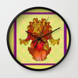 Abstracted Yellow-Orange-Gold Iris Drawing Wall Clock