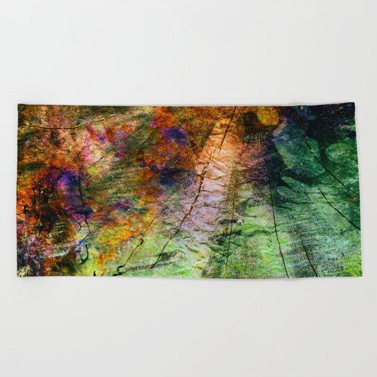 ink in wood Beach Towel