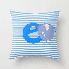 e for elephant Throw Pillow
