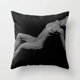 0067-DJA Zebra Nude Woman Yoga Black White Abstract Curves Expressive Line Slim Fit Girl  Throw Pillow