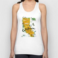 postcard Tank Tops featuring Postcard from California by Christiane Engel