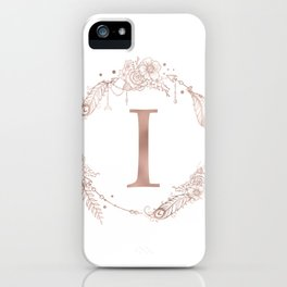 Letter I Rose Gold Pink Initial Monogram iPhone Case