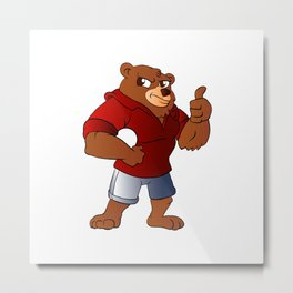 athletic  Bear holding a ball Metal Print