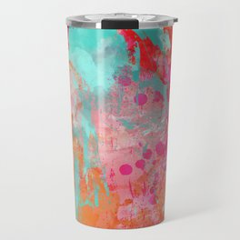 Paint Splatter Turquoise Orange And Pink Travel Mug