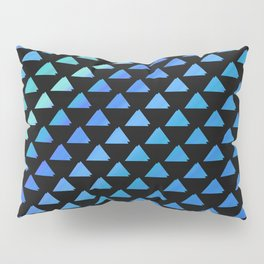 Blue geometric pattern with black background Pillow Sham