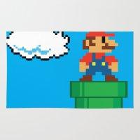 mario bros Area & Throw Rugs featuring Mario Bros by WaXaVeJu