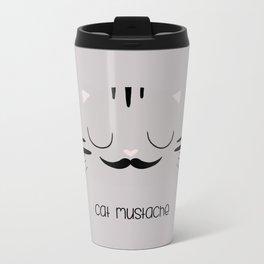 cat mustache Metal Travel Mug