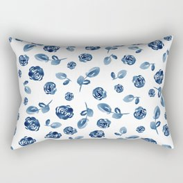 China Blue Roses and Leaves // Hand Painted Watercolor Flowers // Cobalt Roses and Leaves Rectangular Pillow