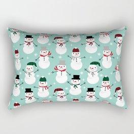 Snowman gender neutral mint white and black holiday pattern kids room decor seasonal Rectangular Pillow