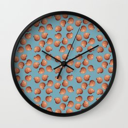 Light Blue Small Clams Illustration pattern Wall Clock