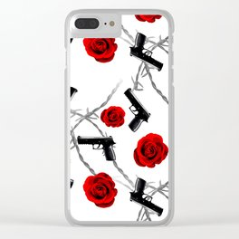 Roses Barbed Wire Guns Pattern Love Is War Clear iPhone Case
