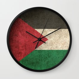 Old and Worn Distressed Vintage Flag of Palestine Wall Clock