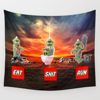 cyclops Wall Tapestries featuring EAT SHIT RUN CYCLOPS LEGO by complesso gasparo