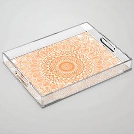 Orange Tangerine Mandala Detailed Textured Minimal Minimalistic Acrylic Tray