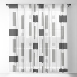 Pattern of Squares Sheer Curtain