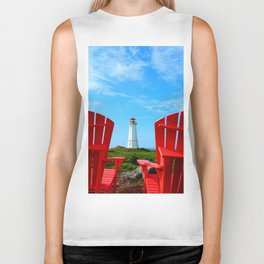 Lighthouse and chairs in Red White and Blue Biker Tank