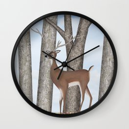 white-tailed deer & chickadees in the forest Wall Clock