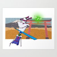 ninja Art Prints featuring Ninja by Mike Singleton