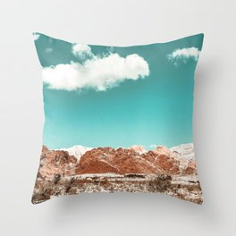 Vintage Red Rocks // Snow in the Mojave Desert Clouds Teal Sky Mountain Range Landscape Throw Pillow
