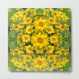 YELLOW COREOPSIS FLOWERS GREEN GARDEN Metal Print