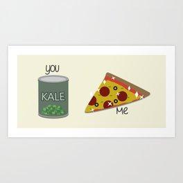 Kale VS Pizza Art Print