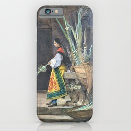 Jehan Georges Vibert - Palm Sunday in Spain - Digital Remastered Edition iPhone Case