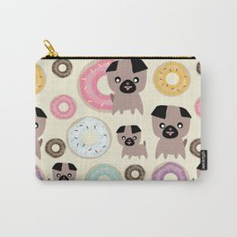 Pug and donuts beige Carry-All Pouch