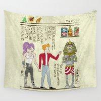 netflix Wall Tapestries featuring Hero-glyphics: Planet Express  by Josh Ln
