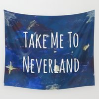 neverland Wall Tapestries featuring Take Me To Neverland | Galaxy by Sarah Hinds