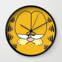 garfield Wall Clocks featuring Garfield Face by julien tremeau