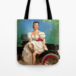 Pin Up Girl and Antique Car Tote Bag