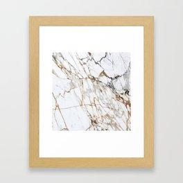 Marble White & Gold Framed Art Print