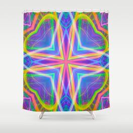 techno wave tile Shower Curtain