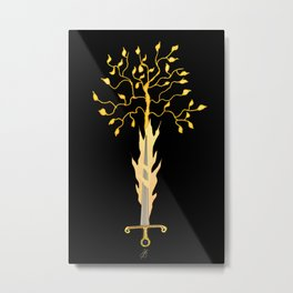 The Flaming Sword Guarding The Garden Metal Print