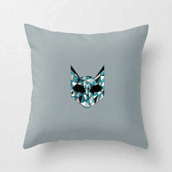 Turquoise Cat Throw Pillow