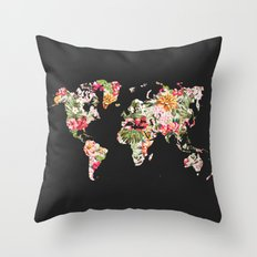 Floral World Map Throw Pillow