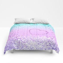 Sparkling UNICORN Girls Glitter Heart #9 #shiny #pastel #decor #art #society6 Comforters