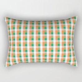 Orange White and Green Irish Gingham Check Plaid Rectangular Pillow