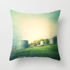 Farm land drive by Throw Pillow