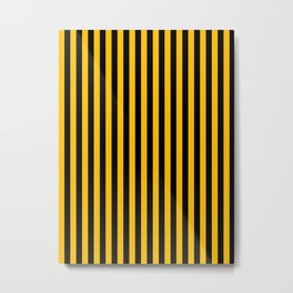 Amber Orange and Black Vertical Stripes Metal Print
