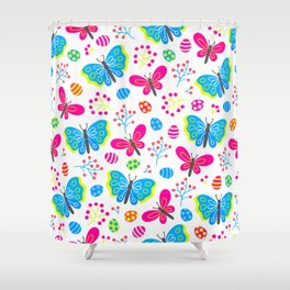 Easter Blue and Pink Butterfly Pattern Shower Curtain
