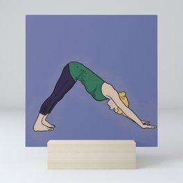 Downward Facing Dog/ Fitness Portraits/ Blue Background/ Sun Salutation Mini Art Print