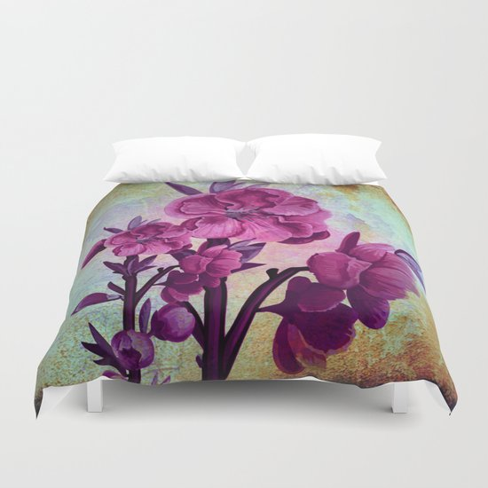 pink flowers and rust Duvet Cover