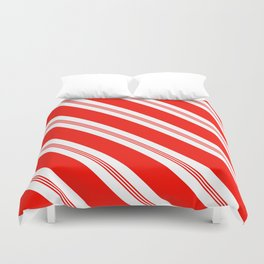 Candy Cane Stripes Holiday Pattern Duvet Cover