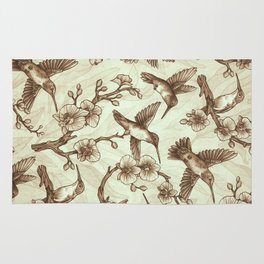 Sepia Hummingbird Pattern Rug