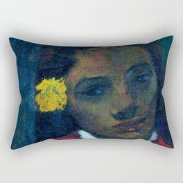 """Paul Gauguin """"Tete De Tahitienne Or La Fleur Qui Ecoute"""" Rectangular Pillow"""